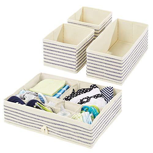 mDesign Juego de 4 Cajas organizadoras para Cuarto Infantil – Elegantes cestas de Tela para almacenaje en Diferentes tamaños – Organizadores para armarios de Fibra sintética Transpirable – Crudo/Azul