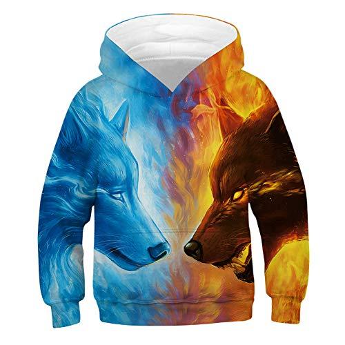 chicolife 3D Hässlicher Weihnachtspullover Jugend Hoodies Pullover Neuheit 3D Lion Hooded Jumperss Jungen Pocket Sweatshirts für Halloween Festival Wear L.