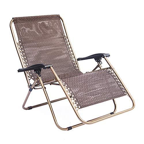 Klappstuhl Verstellbarer Gartenschaukelstuhl Falten Freien Rocker Zero Gravity-Sitz mit Kopfstütze Camping Fischen Patio Deck Liegestühle Folding Zurück Stühle ( Color : Brown , Size : 66*95*98cm )