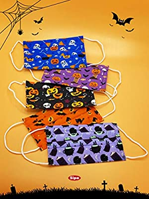 SIPA 50 PCS Kids Disposable Face Masks,Trick-or-treat Skull Pumpkin Bat Print Fabric Protection with Elastic Earloops 3 layer protection for kids School Daily Use Breathable & Comfortable