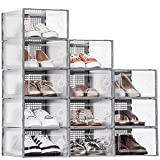12 Pack Shoe Boxes Clear Plastic Stackable, WALL QMER...