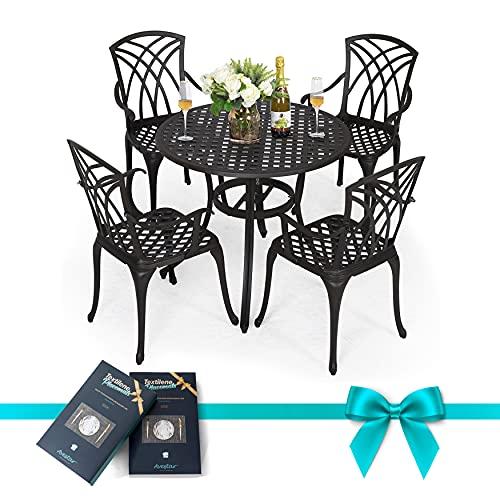 Nuu Garden Outdoor Cast Aluminum Dining Set, Black Round Patio Table and Chairs with Umbrella Hole for Patio or Deck, Lattice Weave Design, 5-Pcs Set, Antique Bronze