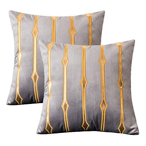 Jahosin - Funda de almohada decorativa de terciopelo, estampado dorado, funda de cojín cuadrada gris para salón con diseño de cremallera oculta, 45 x 45 cm (Tangjin)