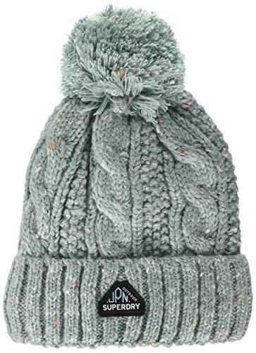 Superdry Womens Gracie Cable Beanie Hat, Sea Blue Tweed, Einheitsgröße