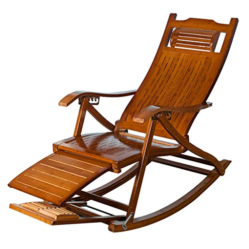 WYJW Liegen Klappbarer Schaukelstuhl Loungesessel Relaxsessel Verstellbarer Sessel Rocker Senioren-Ruhesessel mit massierbarem Ball (Farbe: C)