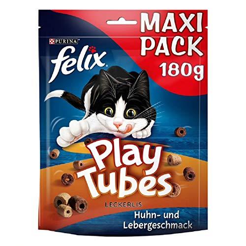 FELIX Play Tubes Katzensnack, Leckerli zum Spielen, mit Huhn- & Lebergeschmack, 5er Pack (5 x 180g)