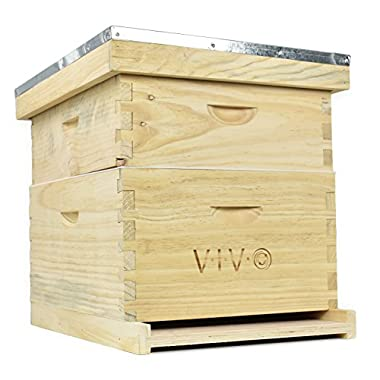 VIVO Complete Beekeeping 20 Frame Beehive Box Kit (10 medium 10 Deep) Langstroth Bee Hive from (BEE-HV01)
