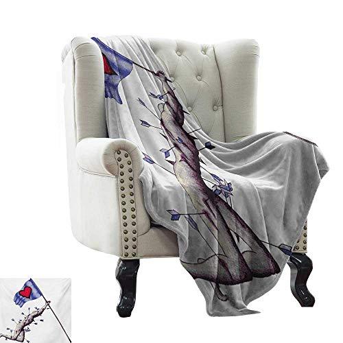 BelleAckerman - Manta con Peso, diseño de Corazones, Color marrón pálido, Rosa y Azul para Cama y sofá