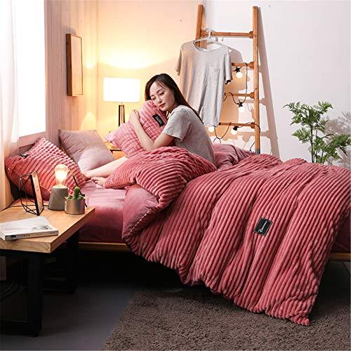 YFFS Bedding, Duvet Cover, Four-piece Suit, AB Version of Cotton Plus Velvet Thickening Winter Warm Bedding Simple Duvet Cover Bed Pure Cotton Crystal Velvet (2,small)