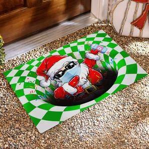 Chiara France Indoor Doormat, Durable Non-Slip Washable Polyester Fiber, Doormat, Quarantine Santa Dabbing Illusion Doormat