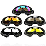 Dplus ATV Dirt Bike Goggle, Off-Road Racing MX Goggle, Anti-Dust Bendable Eyewear,Adjustable Strap,Motorcycle Goggles,Cycling Skiing Pack of 5