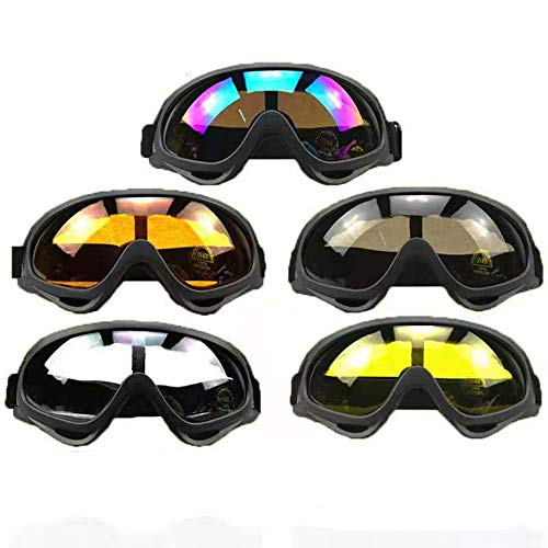 DPLUS Motorcycle Goggles ATV Dirt Bike Off Road Racing MX Goggle Anti-Scratch Dust Proof Bendable Eyewear with Padded Soft Foam, Adjustable Strap Cycling, Skiing, Snow Blizzard, Pack of 5 (X400)