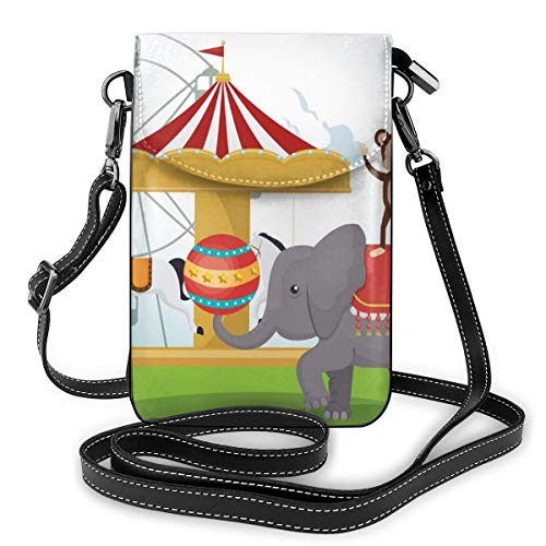 Women Small Cell Phone Purse Crossbody,Monkey And Elephant In A Circus Theme Park Festive Costumes Details Celebration