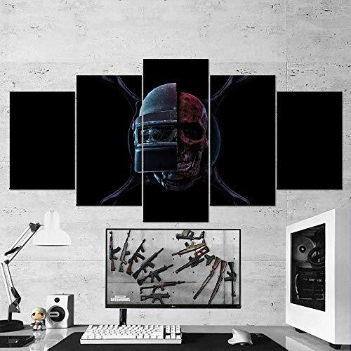 13Tdfc Cuadro sobre Lienzo 5 Piezas Impresión En Lienzo Ancho: 150Cm, Altura: 80Cm Listo para Colgar-Pubg 63 Playerunknowns Battlegrounds - Skull Helmet Pan En Un Marco
