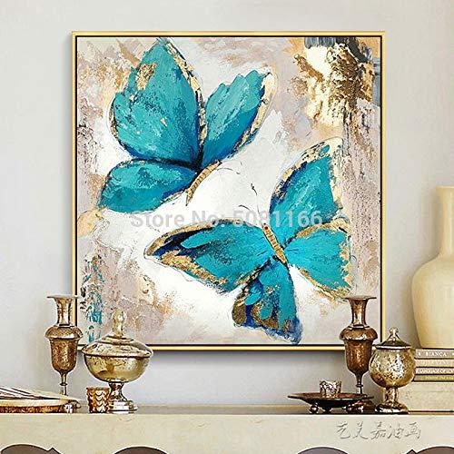 Turquesa pintura al óleo lienzo abstracto mariposa azul moderno decorativo pared arte sala decoración