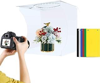 Fotostudio Lichtkasten von Puluz, 20 cm, tragbar, faltbar, für Fotografie, Studio, verstellbare Helligkeit, mit 64 Lichtperlen für LED Leuchtringe (Dual Temperatur), Hintergrund in 6 Farben