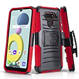 CasemartUSA Phone Case for [LG XPression Plus 3 (AT&T)], [Refined Series][Red] Shockproof Cover with Built-in Kickstand & Belt Clip Holster for LG XPression Plus 3 (AT&T Prepaid Phone)