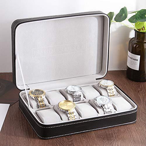 LIHUAN Caja De Almacenamiento De Caja De Reloj De Cuero PU De Estilo Europeo Caja De Colección De Concha con Cremallera Bolsa De Reloj Portátil,B