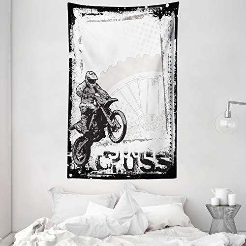 ABAKUHAUS Motorrad Wandteppich, Motocross Racer Bild Grungy Hintergr& Poster Stil Monochromic Kunstdruck, aus Weiches Mikrofaser Stoff Wand Dekoration Für Schlafzimmer, 140 x 230 cm, Schwarz Weiß