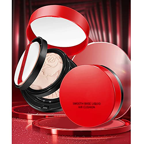 2-in-1 Cushion & Powder Foundation, Face Even Skin Tone Makeup, Red Double Layer Air Cushion Brightening Powder Foundation Combination, CC Cream Concealer Moisturizing Waterproof (Natural)