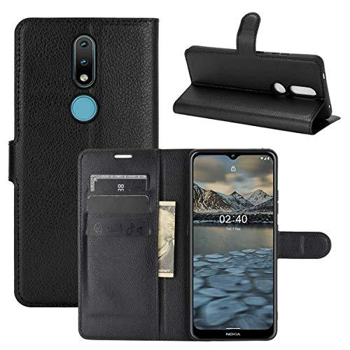 LMFULM® Hülle für Nokia 2.4 (6,5 Zoll) PU Leder Magnet Brieftasche Lederhülle Handytasche Litschi Muster Standfunktion Ledertasche Flip Cover Schwarz