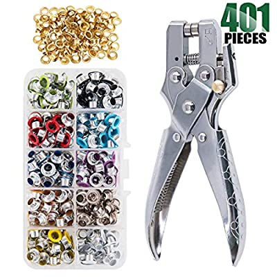 Keadic 300 Sets 1/5 inch Multi-Color Metal Eyelets Grommets Kit with Hole Punch Plier and 100pcs Extra Gold Eyelets, for Leather, Canvas, all Fabrics Men and Women Clothes, Shoes, Belts, Bags, Crafts