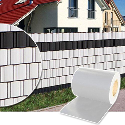 Plantiflex Sichtschutz Rolle 35m Blickdicht PVC Zaunfolie Windschutz für Doppelstabmatten Zaun (Weiß)