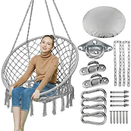 GREENSTELL Swing Chair, Hanging Chair with Hanging Kits and Cushion, Comfortable Sturdy Macrame Hammock Chair for Indoor Outdoor Patio Yard Garden,330LBS Capacity (Grey)