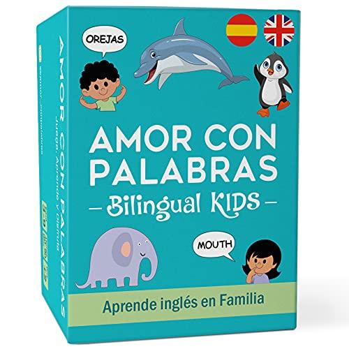 AMOR CON PALABRAS - Bilingual Kids | Juegos de Mesa para Niños para Aprender a Leer y Hablar en Inglés y Español. Juegos de Mesa Familiares para Pasarlo Genial Mientras Se Aprende en Familia.