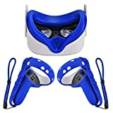 Silicone Controller Grip Cover for Oculus Quest 2 with Face Cover Combo, VR Headset Accessories Sweatproof Anti Collision (Blue)