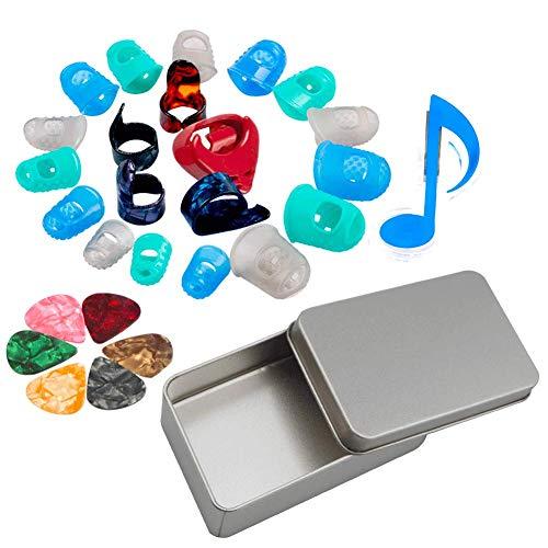 Sinblue Gitarren-Starter-Set inkl. Gitarren-Plektren, Fingerschutz, Daumen- und Fingerplektren, Plektrumhalter, Musikseiten-Clip mit Rastertasche, Aufbewahrungsbox – Saiten Instrument Übung