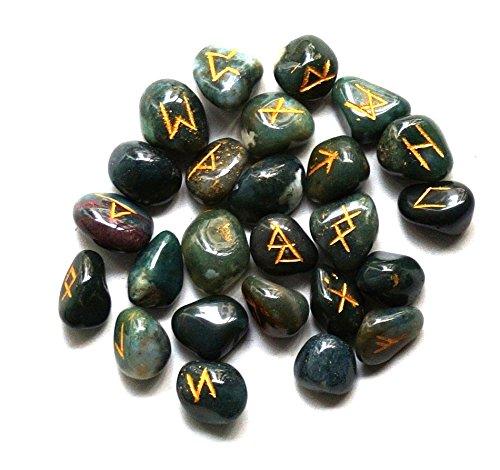 Healing Crystals India, pietre preziose con scritta incisa e sacchettino, Pietra, Pietra di sangue.,...