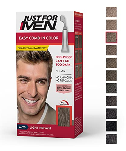 Just For Men Easy Comb-In Color (Formerly Autostop), Gray Hair Coloring for Men with Comb Applicator - Light Brown, A-25 (Packaging May Vary)