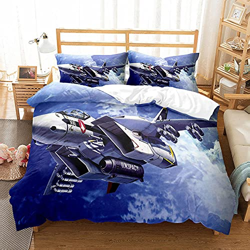 CMYKYUH Funda de edredón 240 x 260 cm Avión de Cielo Azul Impresión Funda Nórdica Fibra superfina Juego de Cama Cremallera + 2 Funda de Almohada 50x75 cm para dormitorios y Habitaciones Infantiles