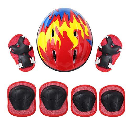 iEFiEL 7 Stück Kinder Mädchen Protektoren Set Profie Schutzausrüstung mit Verstellbar Helm Knieschoner Ellbogenschützer Handgelenkschoner für Fahrrad Rollschuh Rot One Size