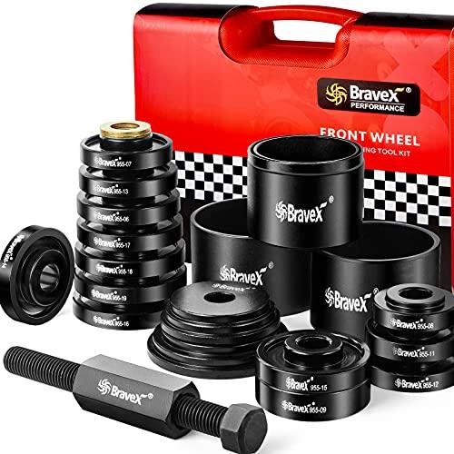 FWD - Adaptadores de rodamientos de tracción delantera para extractor de prensa de repuesto instalador kit de herramientas de eliminación de 23 piezas con estuche de almacenamiento