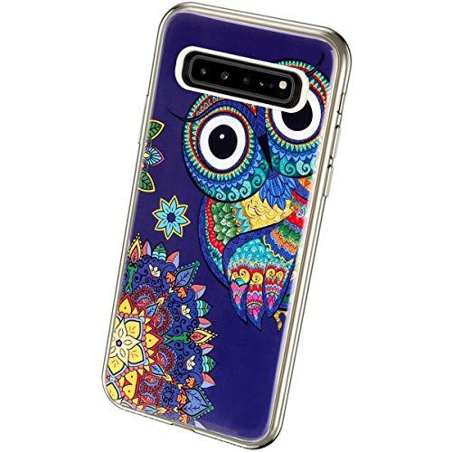 QPOLLY Kompatibel mit Samsung Galaxy S10 5G Hülle TPU Silikon Leuchtend Bunt bemalt Muster Luminous Handyhülle Ultra Dünn Weich TPU Schutzhülle Handy Tasche Case für Galaxy S10 5G,Blau Eule