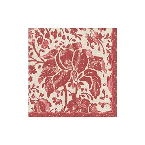 Serviettes en papier Country rustique Décorations de Noël Imprimé délavé Rouge pour cocktail Pack of 20 Rouge