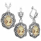 CLEARNICE Vintage Lady Queen Conjuntos de Joyas Ciruelo Flor Colgante Diamante de imitación Joyería de Moda Longitud 70Cm