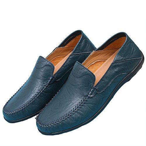 SK Studio Herren Mokassin Leder Loafer Slipper Fahren Freizeitschuhe Handgefertigt Mokassins Bootsschuhe 37-47 EU Große Größe Blau
