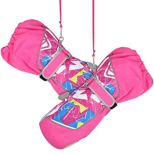Fengzio Skihandschuhe Kinder Wasserdicht Kinderhandschuhe Warm Winterhandschuhe mit extra Langen Manschette Winddichte Sport Handschuhe für ski/Skifahren für 3-12 Jahre Jungen/Mädchen