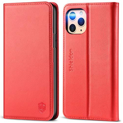 SHIELDON iPhone 11 Pro Max-hoesje, Wallet-hoesje met Automatisch Wekken/Slapen, RFID-blokkering, Kaartsleuven, Standaard, TPU-schaal, Compatibel met iPhone 11 Pro Max (6,5 inch), Rood
