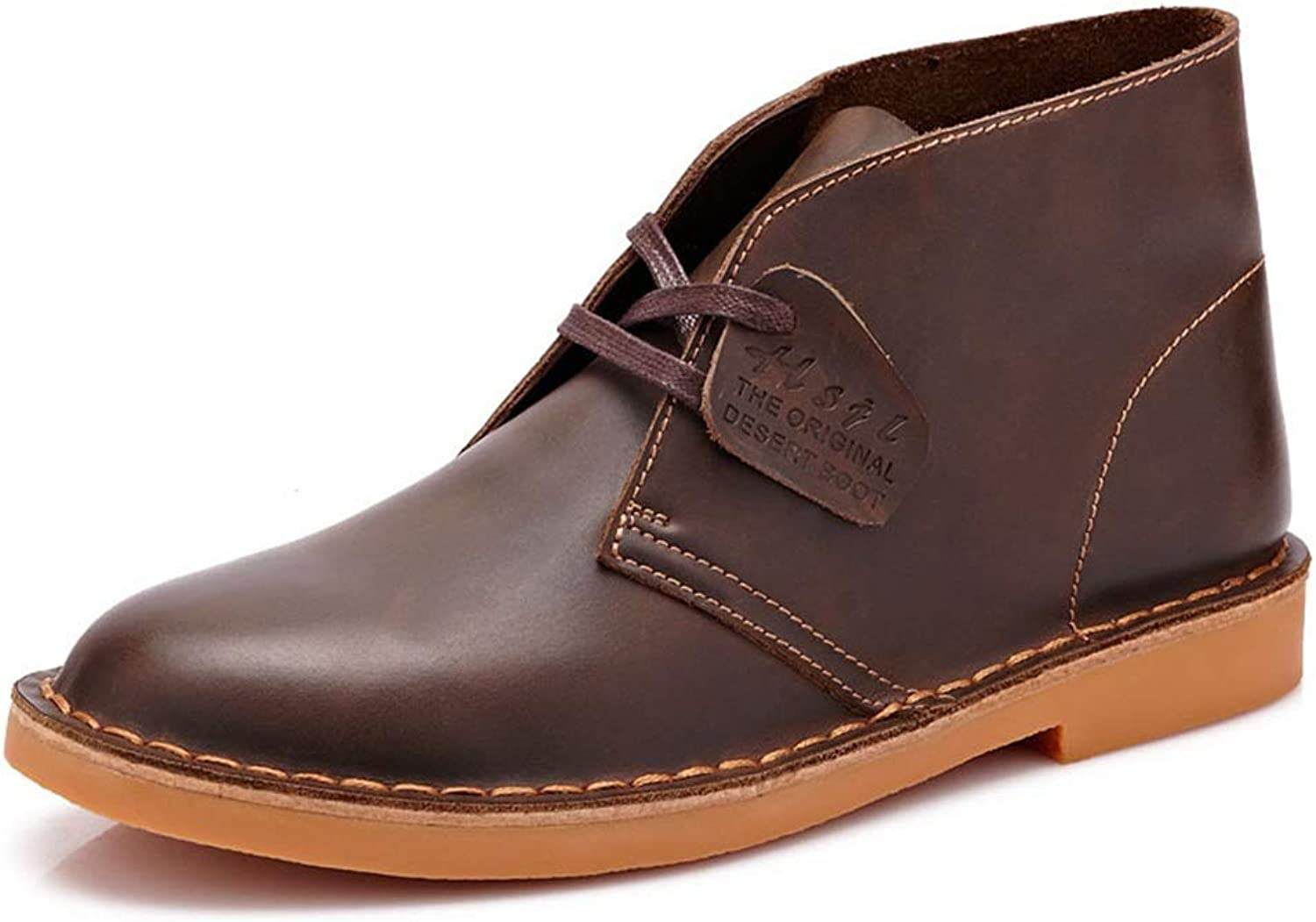 ZHRUI Mens Classic Chukka Boots Soft Sole Non Slip Genuine Leather Casual Ankel Boots (color   Brown, Size   UK 9)
