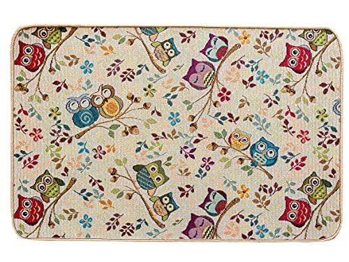 Tappeto Antiscivolo Cucina, Tappetino Bagno, Doccia 55x80 cm, Lavabile in Lavatrice, Motivo con Disegno Gufetti