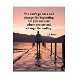 """C.S. Lewis Quotes Wall Art-""""Start Where You Are & Change the Ending""""- 8 x 10' Inspirational Mountain Lake Photo Print-Ready to Frame. Modern Home-Office-School Decor. Great Gift & Life Lesson!"""