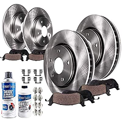 Detroit Axle - 4WD Front and Rear Disc Brake Kit Rotors w/Ceramic Pads w/Hardware & Brake Kit Cleaner & Fluid for 2000 2001 2002 2003 2003 Ford F-150 4WD 5 Lug