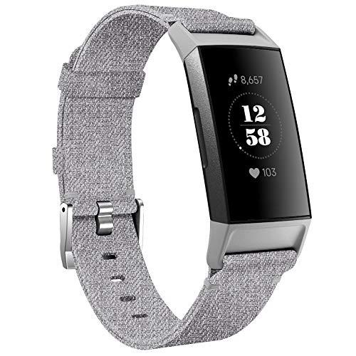 KIMILAR Armbänder Kompatibel mit Fitbit Charge 4 / Charge 3 Armband Stoff, Schnellspanner Nylon Ersatzband Armbänder für Charge 4/3/SE Fitness Tracker -Grau