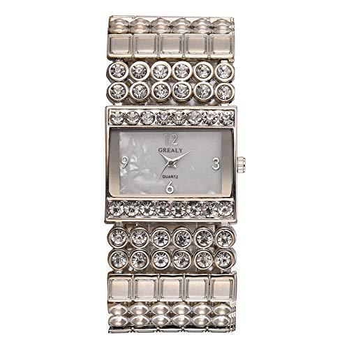 GJHBFUK Reloj De Cuarzo Reloj De Aleación De Moda Reloj De Cuarzo Cuadrado Especial Forma Cuadrada Forma Rhinestone Reloj Femenino (Plata)
