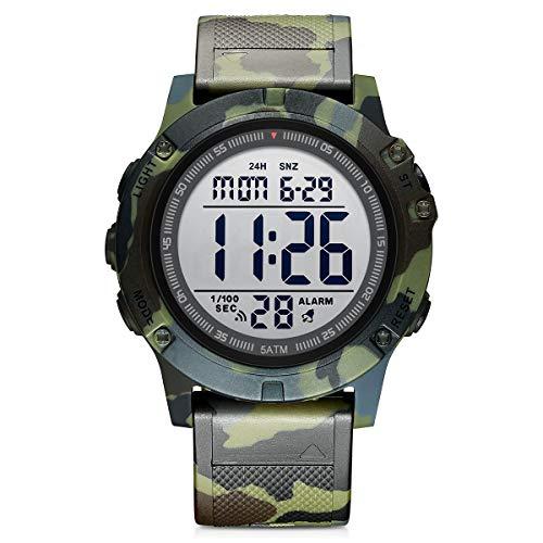 GOLDEN HOUR Orologio sportivo digitale da uomo impermeabile stile tattico militare con retroilluminazione a LED cinturino in gomma grande quadrante orologio per gli uomini Camouflage militare.