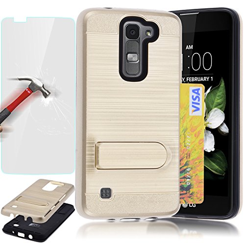 LG K7 Case LG Tribute 5 Case, AUU [Kickstand] [Shock Absorption] [Card Holder Slot] Brushed Metal Texture Hybrid Dual Layer Protector Case Cover + Tempered Glass Protector - Gold